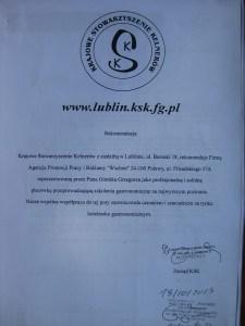 Grzegorz Górnik rekomendacja Krajowego Stowarzyszenia Kelnerów