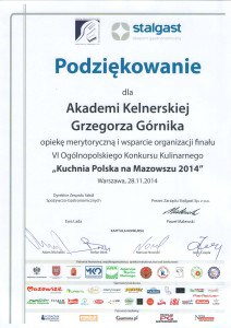 Stalgast Grzegorz Gornik kuchnia polska na mazowszu