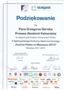 stalgast podziękowanie dla Grzegorz Górnik