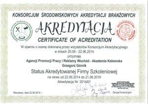 Akademia Kelnerska Status Akredytowanej Firmy Szkoleniowej