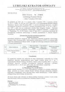 Akredytacja Lubelskiego Kuratora Oświaty dla Akademia Kelnerska
