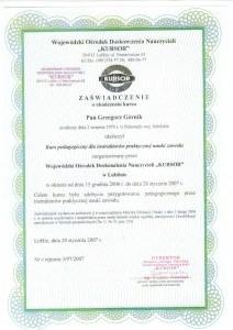 Kurs pedagogiczny dla instruktorów praktycznej nauki zawodu Grzegorz Górnik