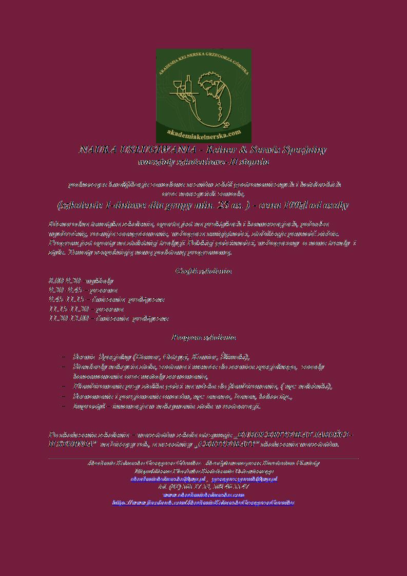 2.,,Nauka usługiwania ''- warsztaty II stopnia - ,,Kelner & Serwis Specjalny'' - 1 dzień (2)