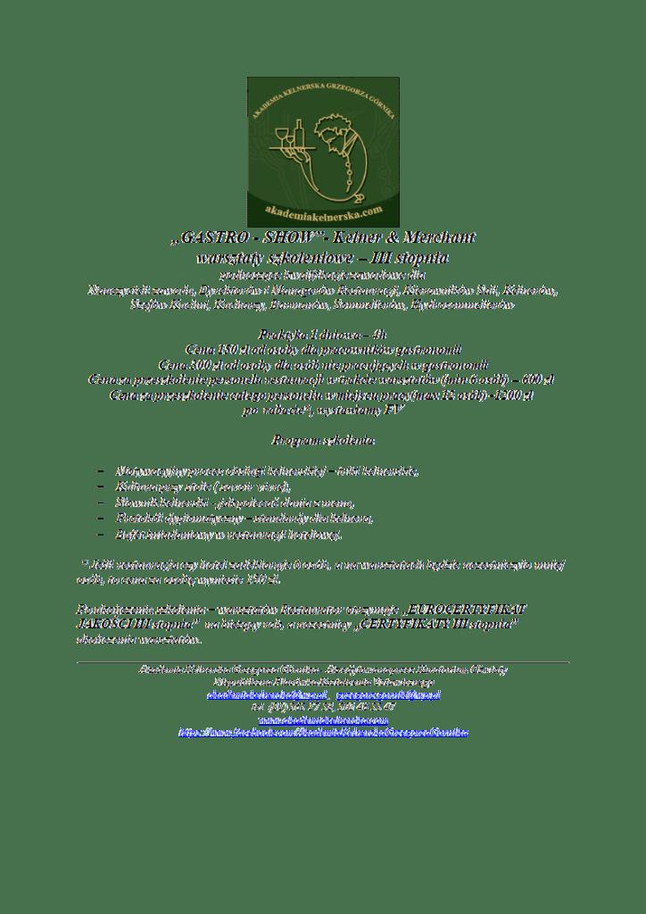 3.,,Gastro - Show'' - warsztaty - III stopnia, Kelner & Merchant- 1 dzień
