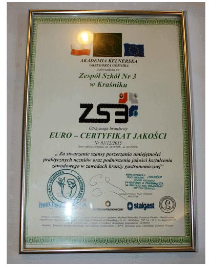 euro certyfikat jakosci akademia kelnerska